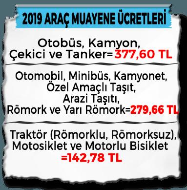 2019 Araç Muayene Fiyatları Güncel Tablo